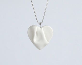 Porcelain HEART necklace, white glaze, 925 sterling silver chain