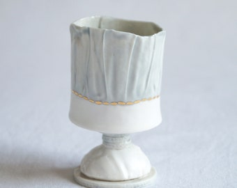 RUCHED No9 porcelain tea light holder, stem, white grey gold lustre