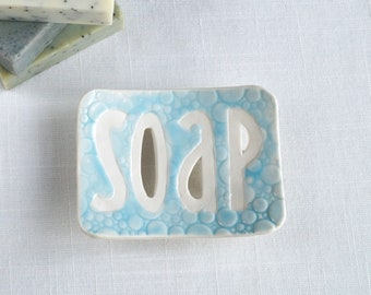 TYPO ceramic soap dish, white porcelain, bubble soap dish, May grey, Cobalt blue, Summer sky