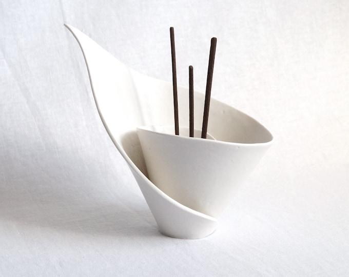 Featured listing image: Spiral LILY ceramic incense holder, porcelain incense stick holder, scent stick holder, white porcelain calla lily, zen moment