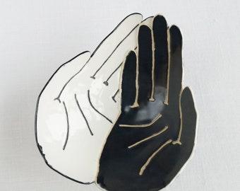 HOLDING hands bowl, porcelain ceramic hand, black and white, life size