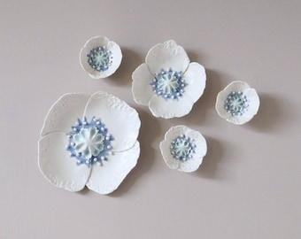 POPPY ceramic wall art, 5 sculpted porcelain flowers, fine art ceramic flowers, white celadon cobalt ceramic glazes