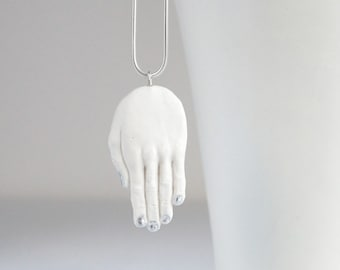 Sculpted porcelain HAND necklace, Sterling silver snake chain