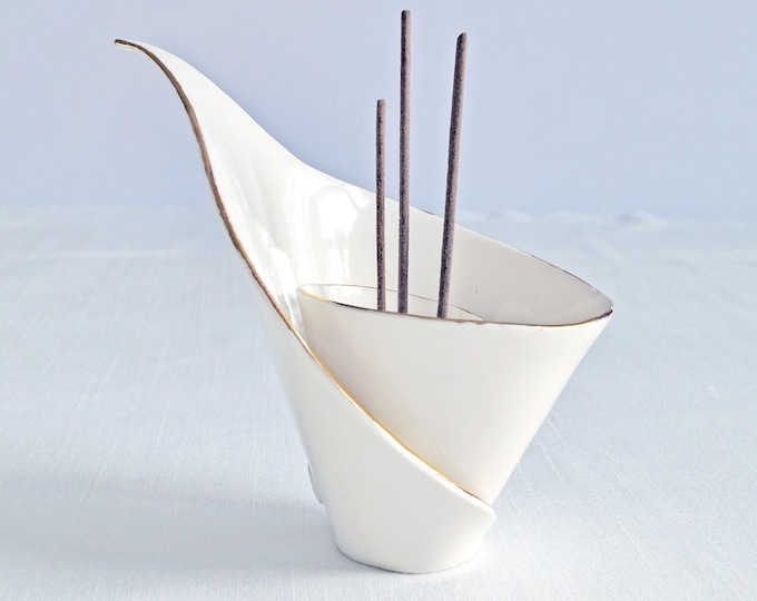 Featured listing image: Spiral LILY ceramic incense holder, porcelain incense stick holder, scent stick holder, gold lustre white porcelain calla lily, zen moment