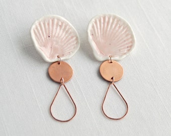 Pink porcelain SHELL statement earrings, copper drops rose gold wires