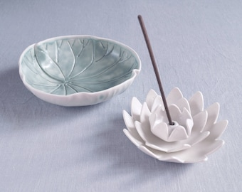 Incense holder and bowl set porcelain water LILY, made to order