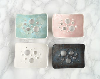 BUBBLE ceramic soap dish, white aqua blue porcelain, choose colour, made to order