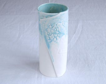Cylindrical LEAF vase, white and aqua glazes
