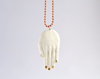 HAND amulet pendant on copper chain necklace, white porcelain, carat gold lustre nails