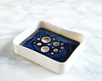 BUBBLE ceramic soap dish and tray set, midnight glaze