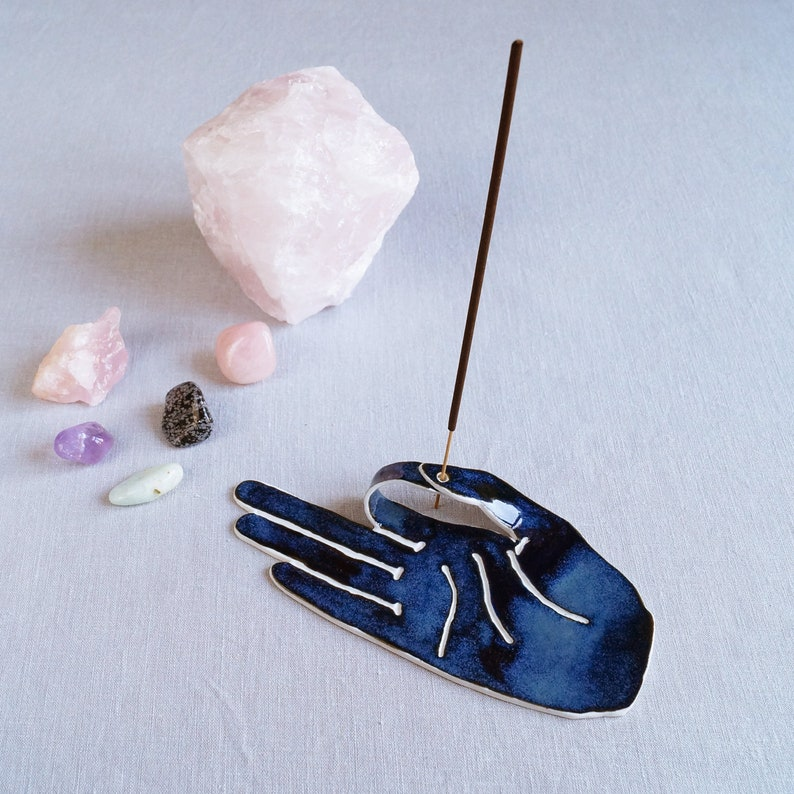 incense stick holder meditation altar zen decor MUDRA hand incense holder ceramic incense burner midnight blue porcelain hand