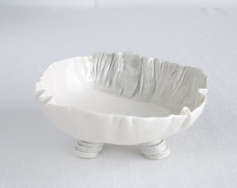 RUCHED No1 freeform porcelain bowl, grey and white