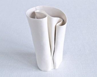 UNFOLDING No6 white porcelain vase, grey glaze