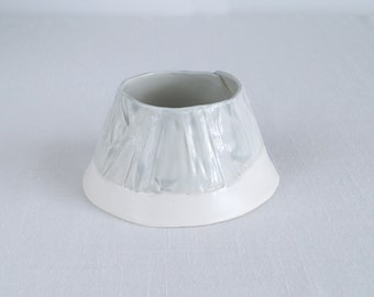 RUCHED No8 conical porcelain tea light holder, grey and white with stem
