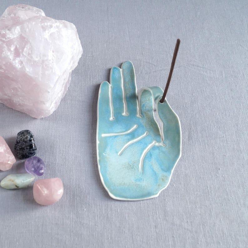 ceramic incense burner incense stick holder meditation altar zen decor turquoise aqua porcelain hand MUDRA hand incense holder