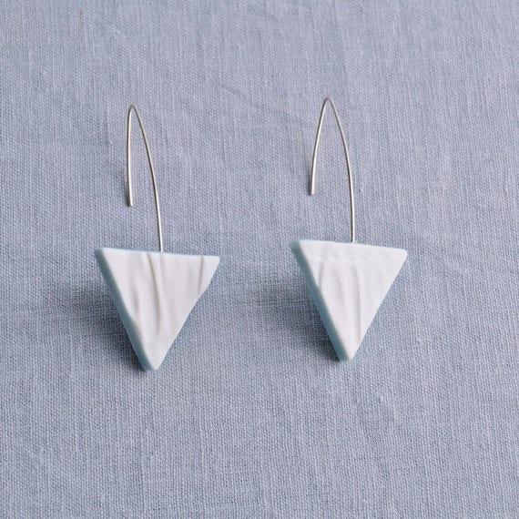 RUCHED No15 geometric triangle earrings
