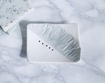RUCHED No6 porcelain soap dish, grey and white