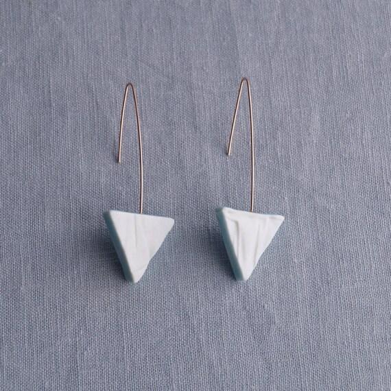 RUCHED No14 geometric triangle earrings