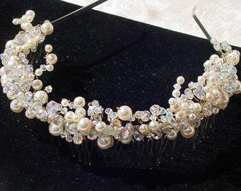 Swarovski Crystal and Pearl Bridal Tiara