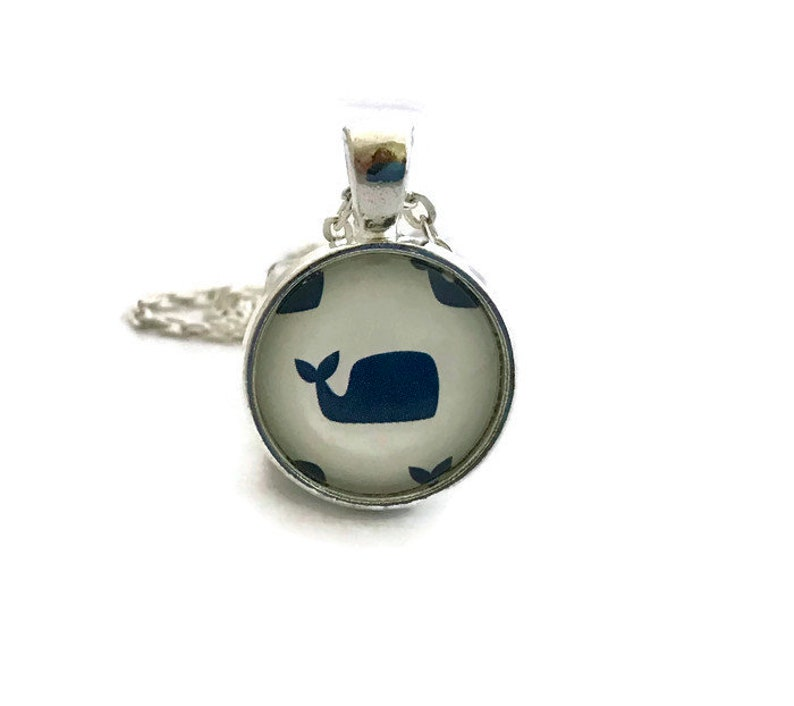 Blue and White Whale Necklace Beach Jewelry Preppy Glass image 0