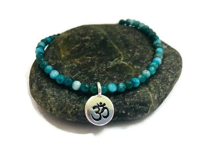 Blue Apatite Third Eye Chakra Bracelet with Ohm Charm Healing image 0