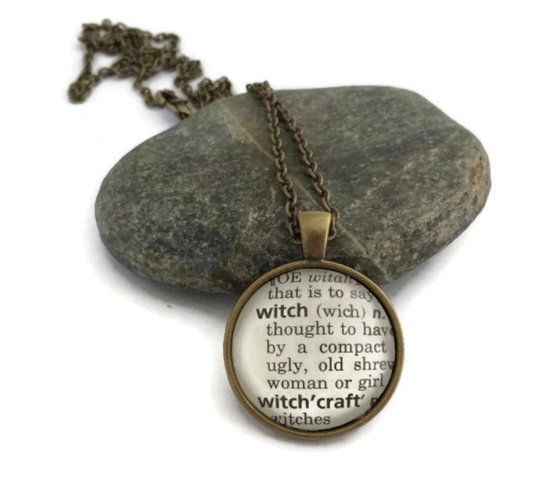 Personalized WITCH Definition Necklace or Keychain Halloween image 0