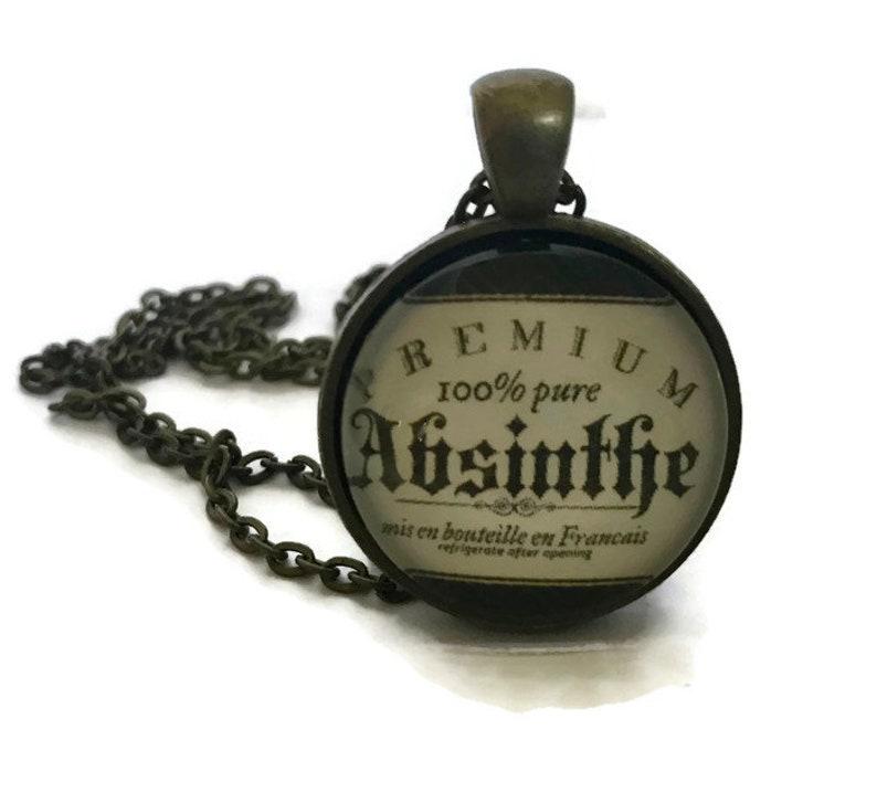 Absinthe Advertisement Glass Pendant Necklace Vintage Liquor image 0