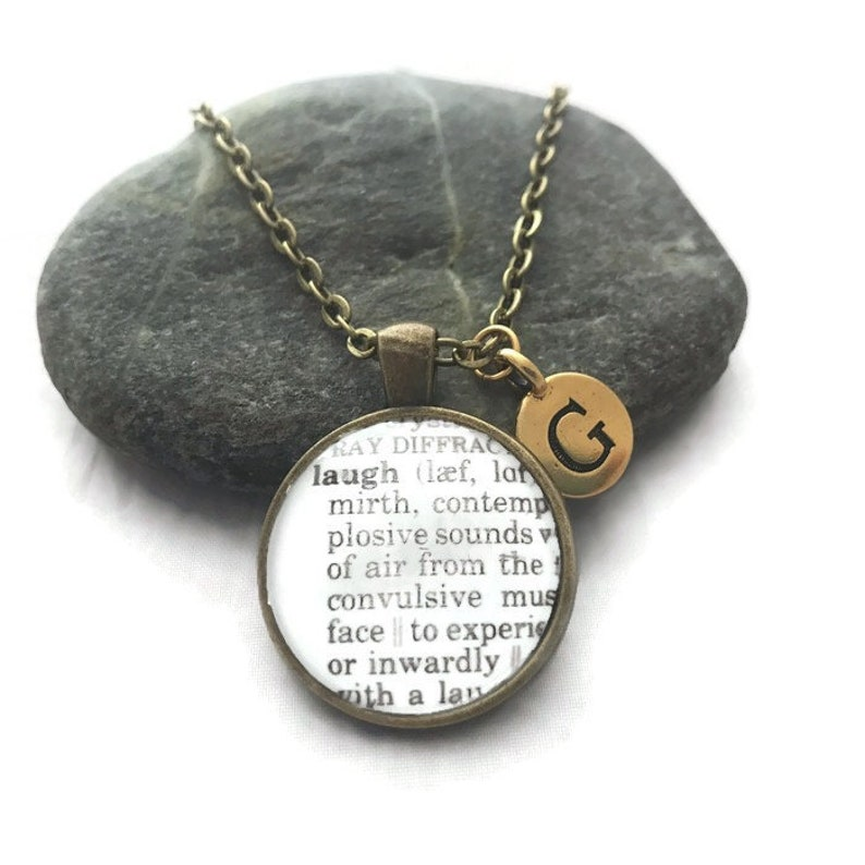 Definition of LAUGH  Dictionary Necklace or Keychain image 0