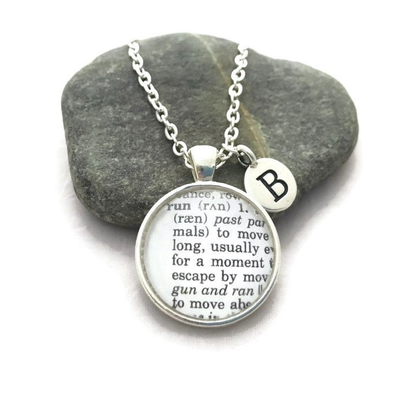 Personalized Definition of RUN Necklace or Keychain, Gift for Runners,  Dictionary Necklace, Marathon Gift, Bronzed or Silver Plated