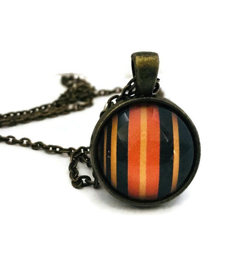 Orange Black and Yellow Striped Necklace Halloween Jewelry image 0