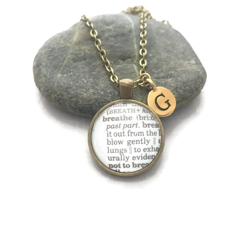 Breathe Dictionary Necklace or Keychain Personalized Word image 0