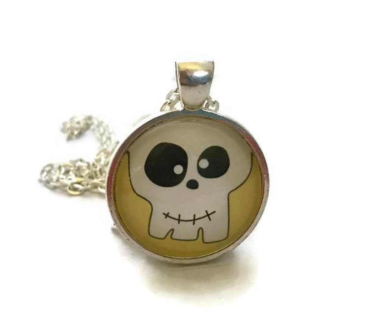 Funny Skeleton Necklace Halloween Jewelry Skull Pendant image 0