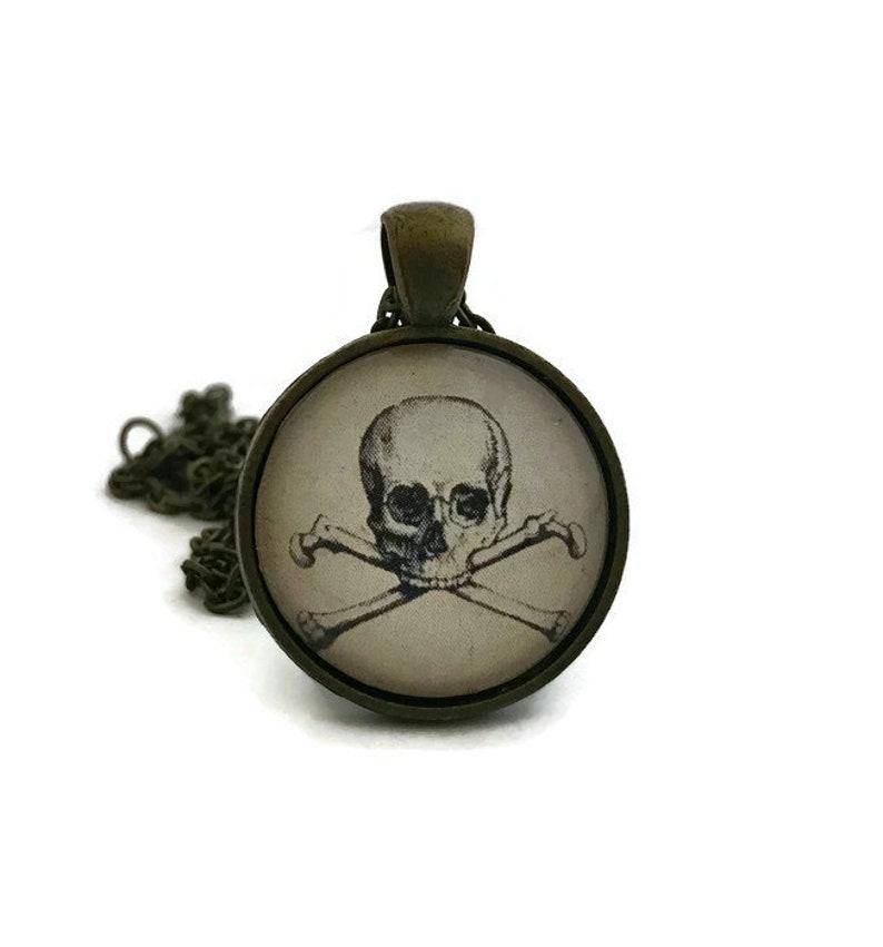 Skull and Cross Bones Necklace Halloween Jewelry Skull image 0