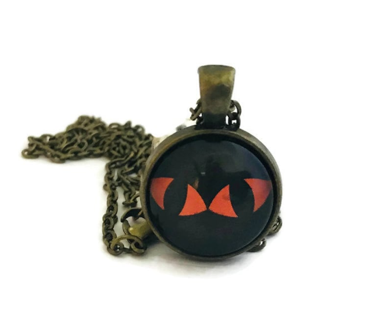 Cat Eyes Pendant Halloween Necklace Black and Orange image 0