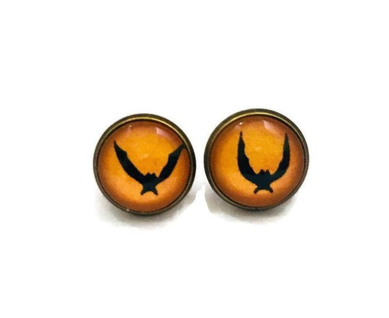 Black and Orange Bat Earrings Small Glass Tile Studs Goth image 0