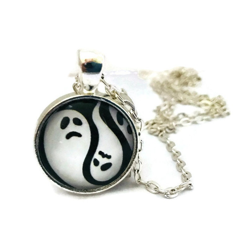 Black and White Ghost Necklace Halloween Jewelry Handmade image 0