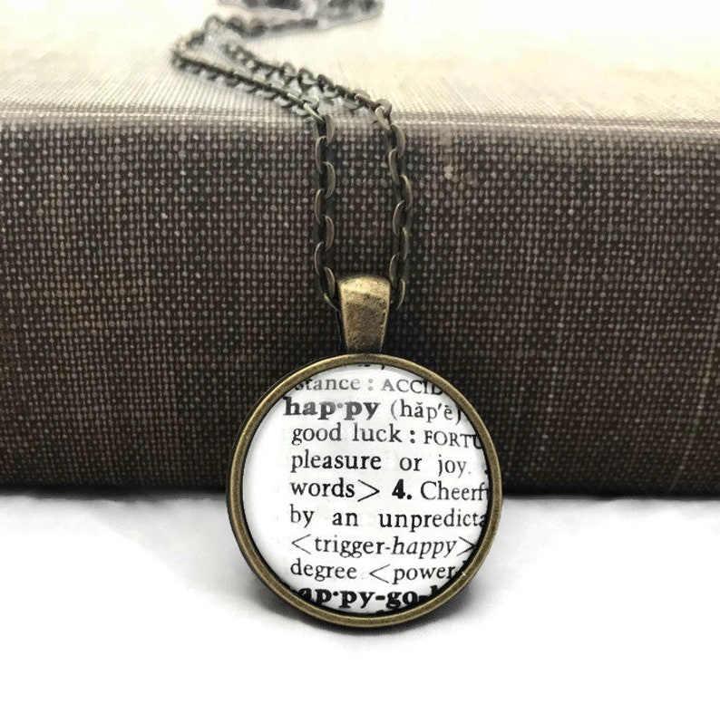 Happy Definition Of Happy At Dictionary Com >> Definition Of Happy Dictionary Necklace Or Keychain Personalized Gift Initial Necklace Choose Bronze Or Silver Setting