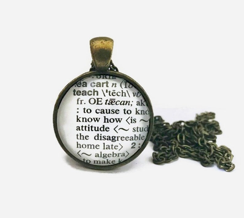 Teach Necklace or Keychain Dictionary Definition Pendant image 0