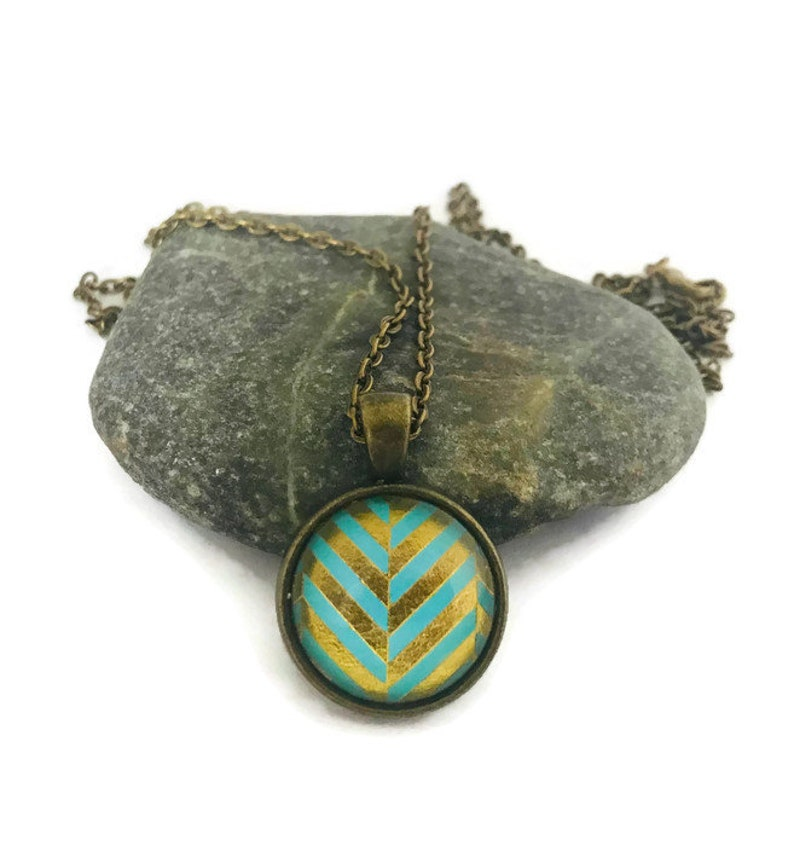 Teal and Gold Chevron Necklace Bohemian Geometric Jewelry image 0