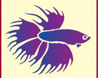 Betta Fish Stencil 6 X 5 The Artful 10 Mil Mylar Walls Pillows And Sign Painting