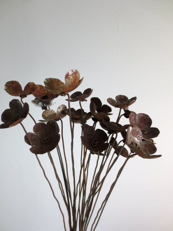 Rustic Bouquet of Rusty Metal Flowers For Your Wedding | Etsy