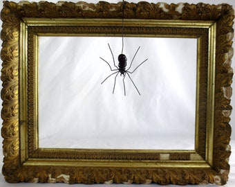 Wee Dangly Czechoslovakian Black Purple Glass Spider Repurposed Art, Free Shipping In US