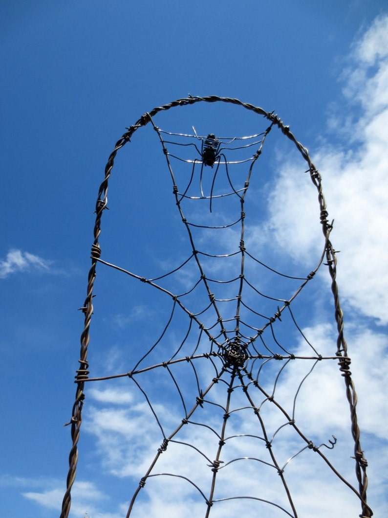 Spider In A Tattered Web Barbed Wire Garden Trellis Made to image 0