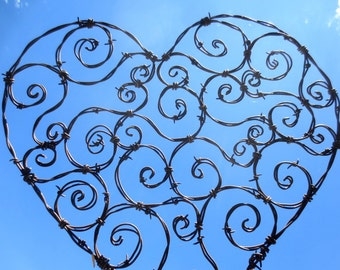 Spirillian Barbed Wire Heart Filled With Random Spirals , Free Shipping In US