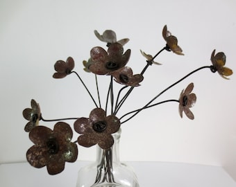 CUSTOM Order Long stemmed Rustic Bouquet of Rusty Flowers Bloom Forever, Free Shipping In US