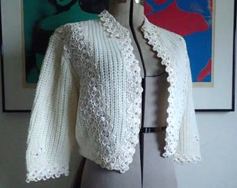 c345342545aaa8 Vintage 1950 s LEE HERMAN Bolero Sweater w  Rhinestones   Lace - Vanilla  Cable Knit Cocktail Sweater