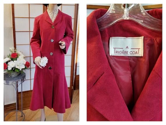 """Vintage """"A Trigère Coat"""" - '80's-'90's Raspberry F"""