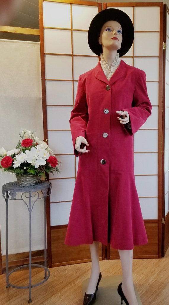 """Vintage """"A Trigère Coat"""" - '80's-'90's Raspberry … - image 10"""