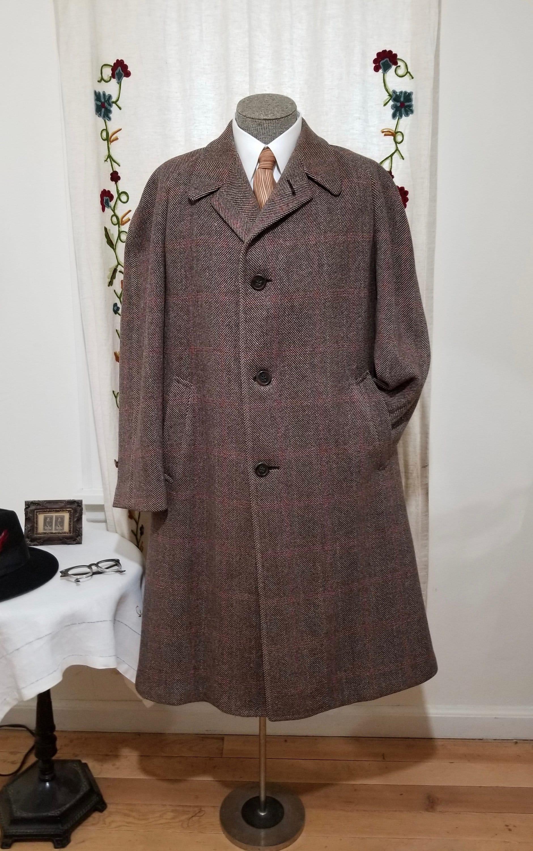 1940s Mens Ties | Wide Ties & Painted Ties Vintage Mans Wool Tweed Coat- Imported Timely Clothes Fully Lined Overcoat with Raglan Sleeves - Sz Xl $0.00 AT vintagedancer.com