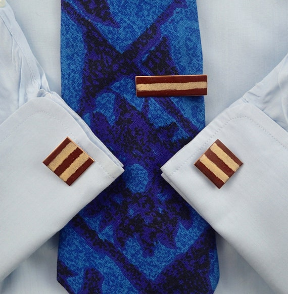 Copper Enamel Tie Clip bar Green /& White Enamel Mid Century Modern Mad Men. Vintage 1950